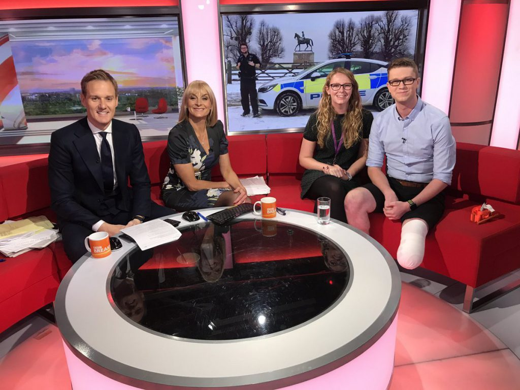 PC Tom Dorman (right) of Thames Valley Police on the BBC Breakfast sofa with (L-R) Dan Walker, Louise Minchin, and his partner Anna.